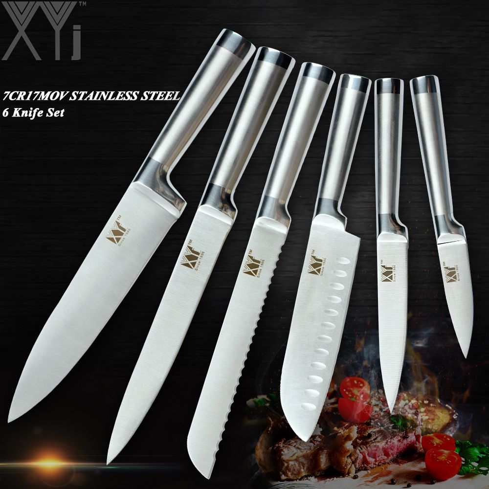 XYj Top Quality Stainless Steel Kitchen Knive Sets Fruit Vegetable Bread Meat Knife Non-Stick Blade Effort-Saving Handle Knives
