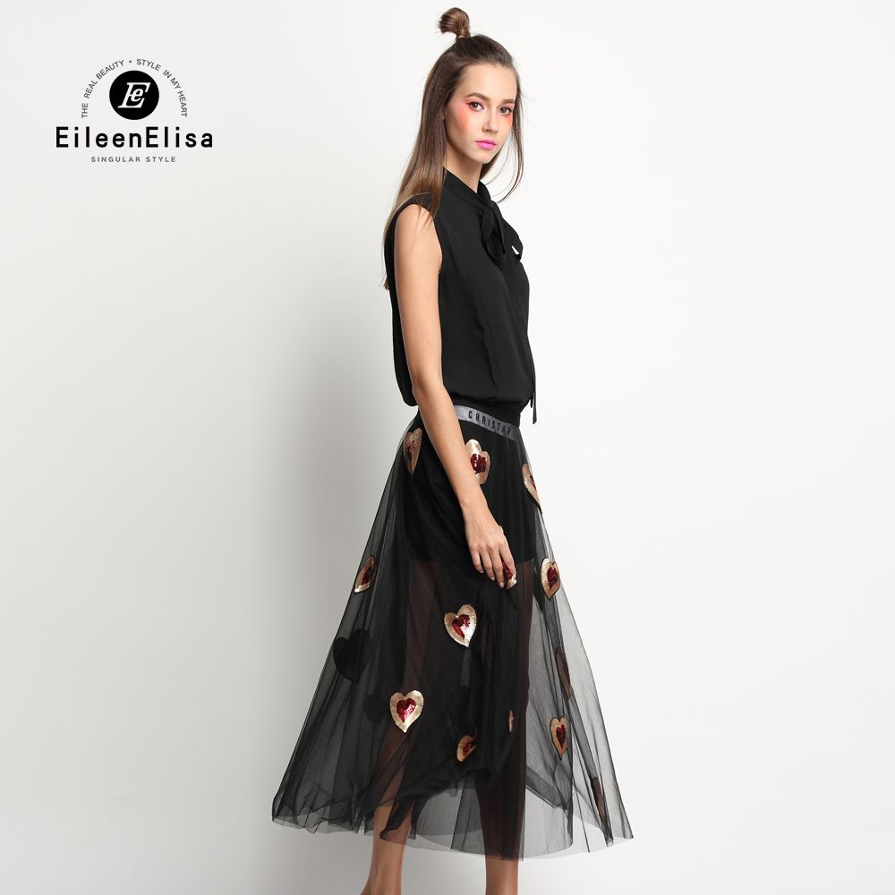 Runway 2 Piece Skirt Set Love Heart Skirt with Black Blouse without Black Sleeveless Blouse