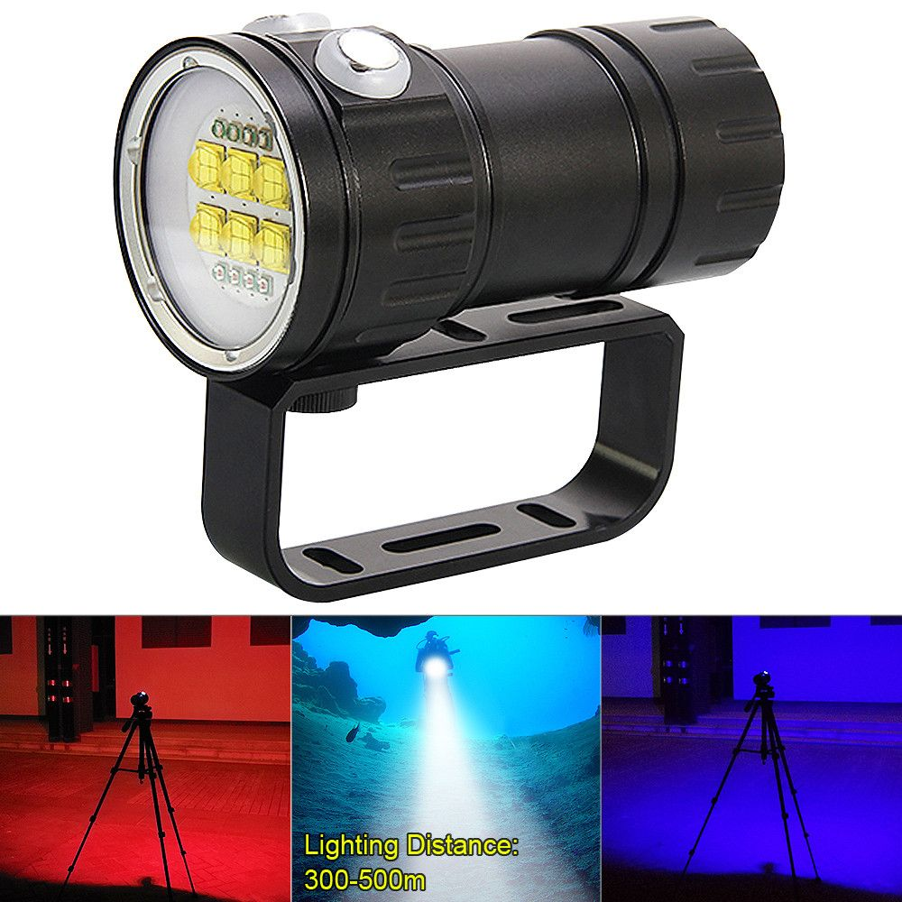 QH14 300W 28800LM LED Flashlight White XML2 + XPE Red Blue R5 LED Underwater 80m Scuba Diving Torch Canister Flash Light 7 Modes