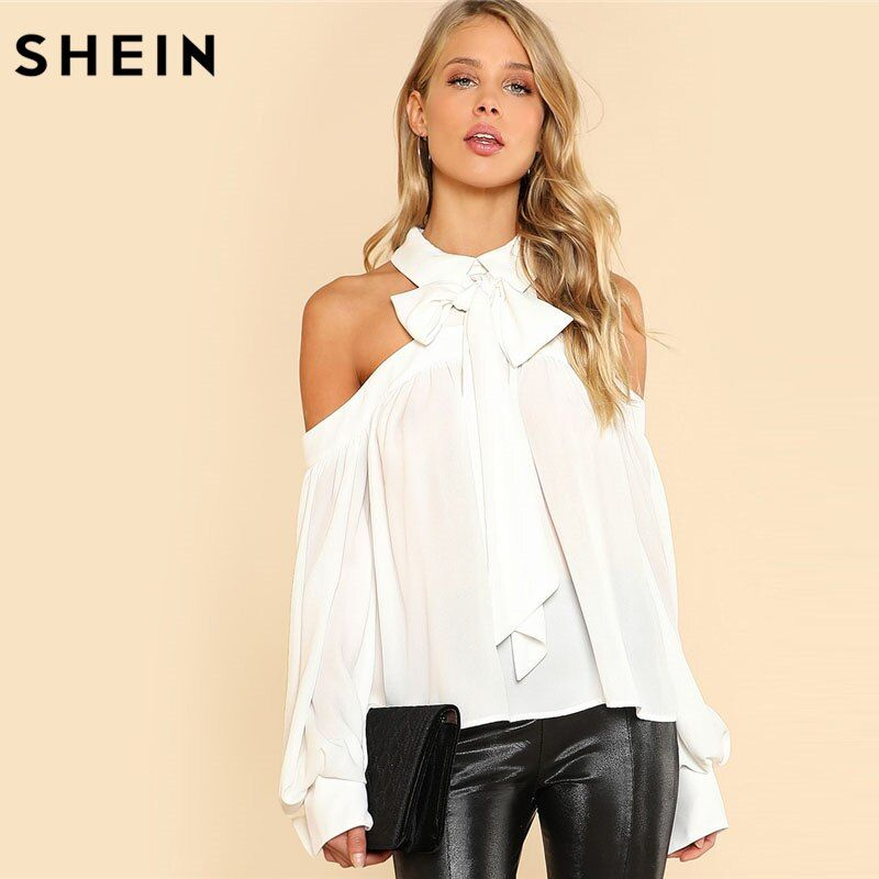 SHEIN White Tie Neck Bow Collar Halter Blouse Women Cold Shoulder Long Sleeve Button Plain Top 2018 Spring Casual Blouse