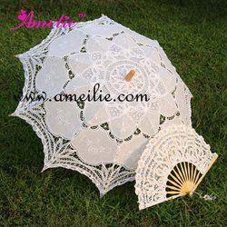 Battenburg Lace Parasol dan Fan Sun Payung Set Pengantin ukuran Dewasa Vintage