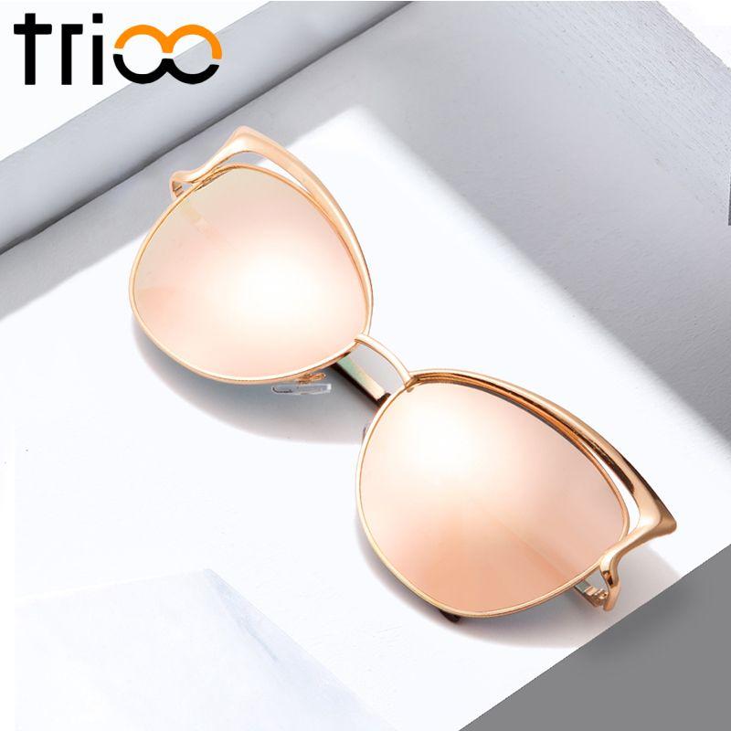 TRIOO Haute Qualité Cat Eye Femmes lunettes de Soleil Rose Or Métal Oculos de sol Réfléchissant D'été Rose Lunettes de Soleil Vintage Sexy nuances