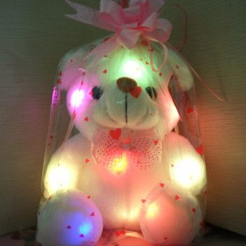 Kids Favorites!New Arrival 20cm Lovely Soft LED Colorful Glowing Teddy Bear Stuffed Plush Toys For Birthday legoeings