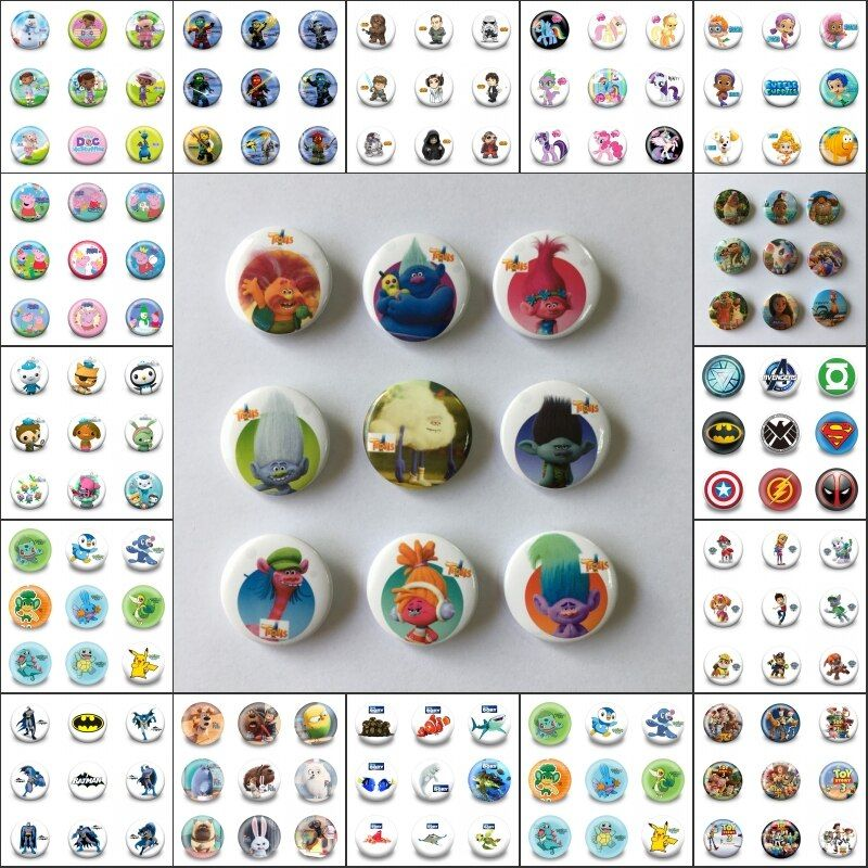 Free DHL HOT mix 900PC super hero Cartoon Badges Pins Bag/Clothes Accessory 30MM Round Buttons Kids Gift Party Favors Papelaria