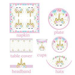 Unicornio partido decoración Kit Unicornio placas/Cups/servilletas tabla cubierta/diadema cumpleaños decoraciones niños fuentes del partido