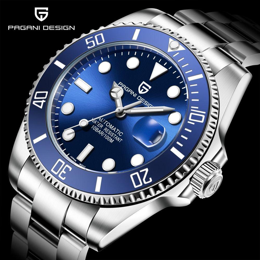 PAGANI marque Design Marke Luxus Männer Uhren Automatische Schwarz Uhr Männer Edelstahl Wasserdicht Business Sport Mechanische