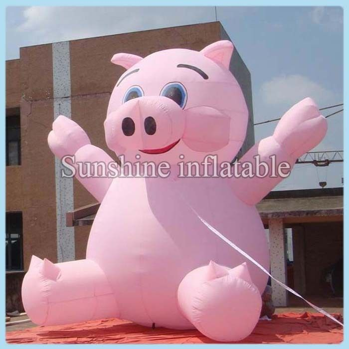 2018 hot selling lovely pink advertising giant inflatable pig