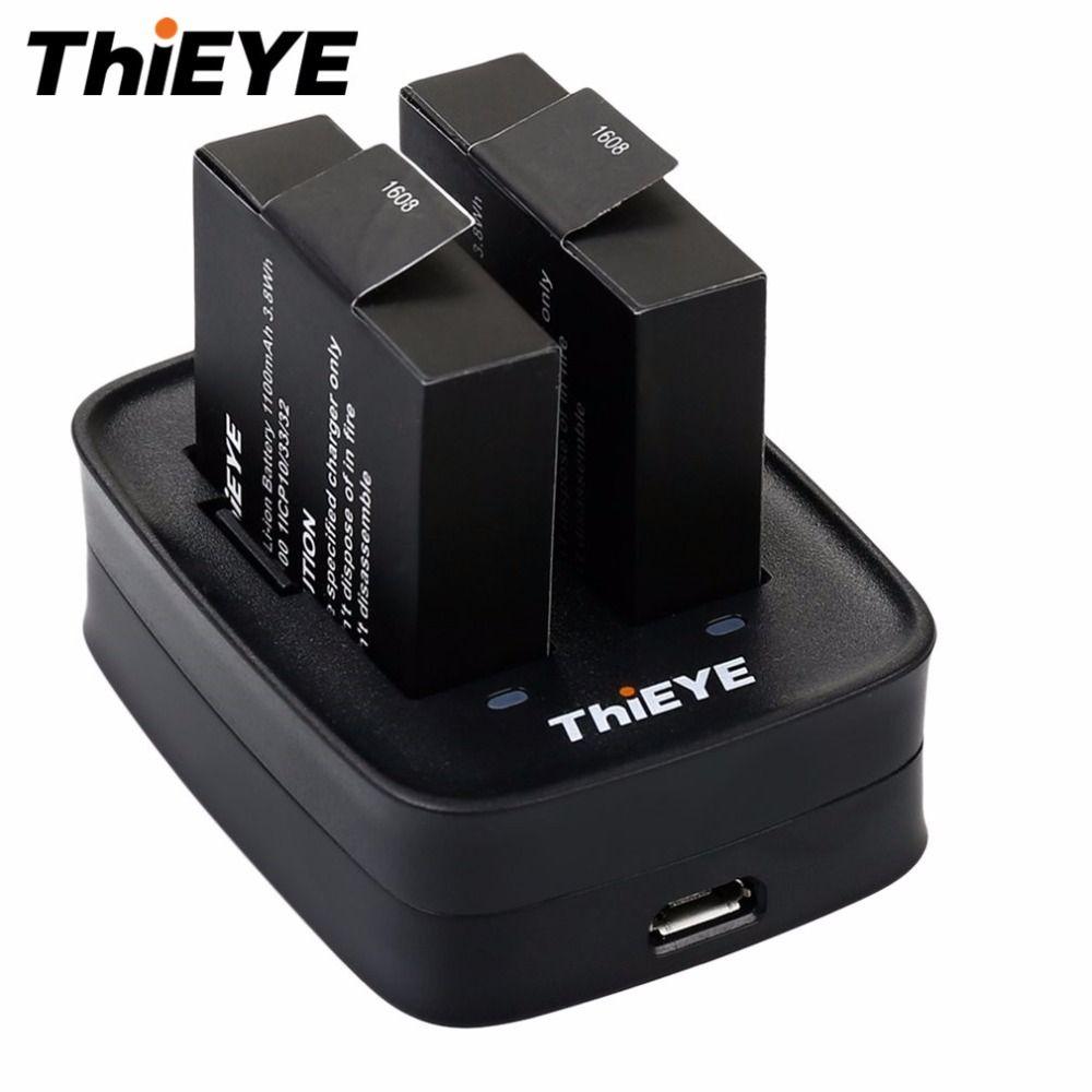 Portátil Original THIEYE Dual cargador de Alta eficiencia de Doble Cargador de Batería de Carga para THIEYE T5e Cámara de Acción