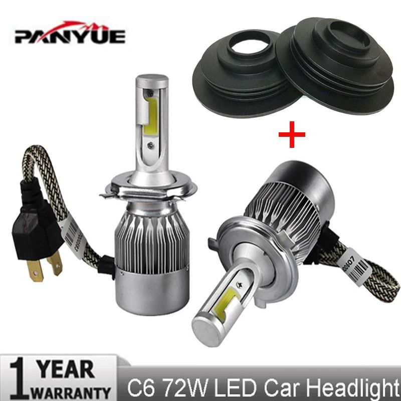 PANYUE 72 watt COB H7 H1 H4 H3 H11 H8 9005 9006 9007 9012 Typ Led-lampe Scheinwerfer Licht Auto Scheinwerfer lampen 6000 karat Led lampe + Dustcover
