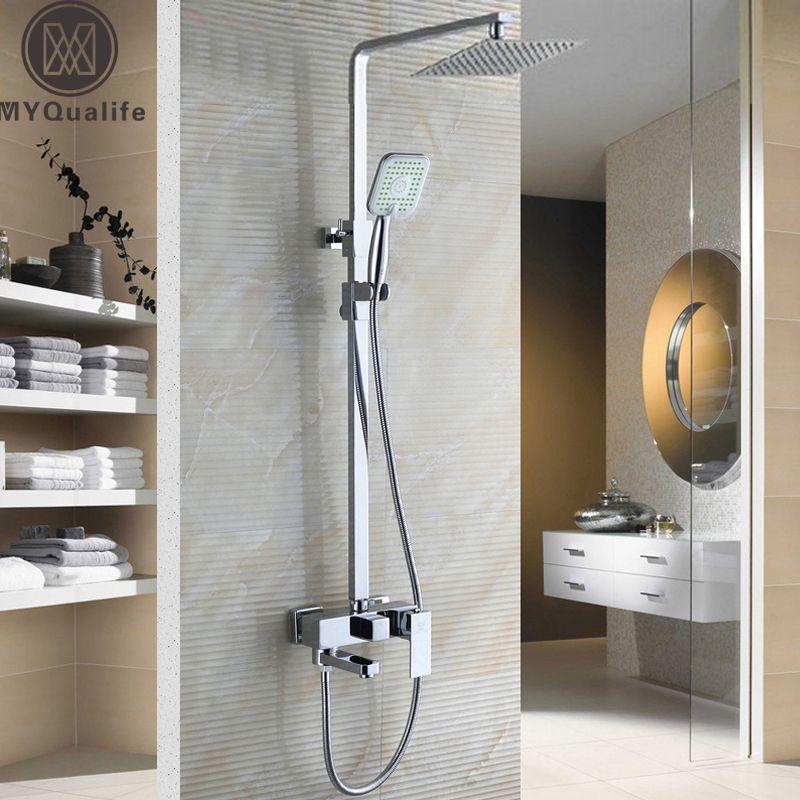 Chrome Bad Dusche Set Wasserhahn mit 8 Ultradünne Showerhead und Handbrause Swivel Badewanne Wasserhahn Höhe Einstellen