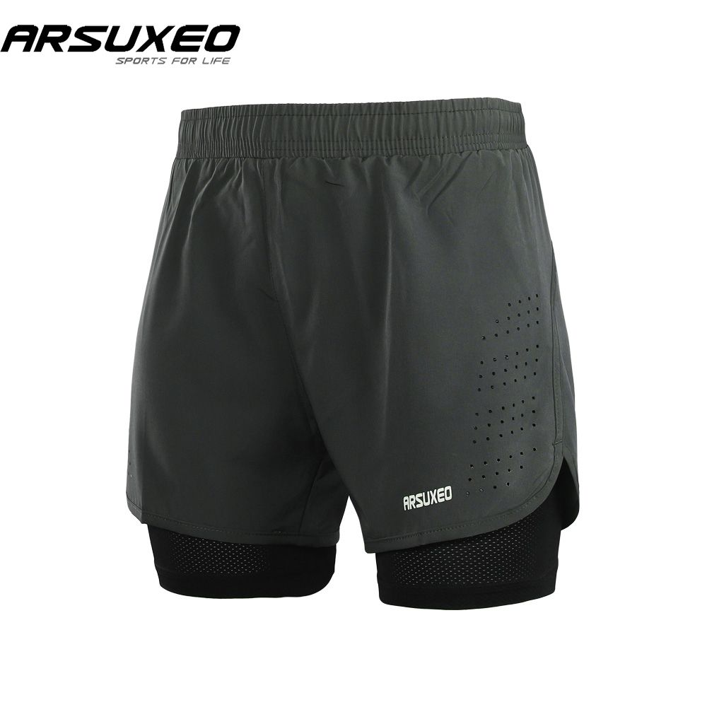 ARSUXEO 2018 Mens 2-in-1 Running Shorts Quick Drying Breathable Active Training <font><b>Exercise</b></font> Jogging Shorts With Longer Liner B179