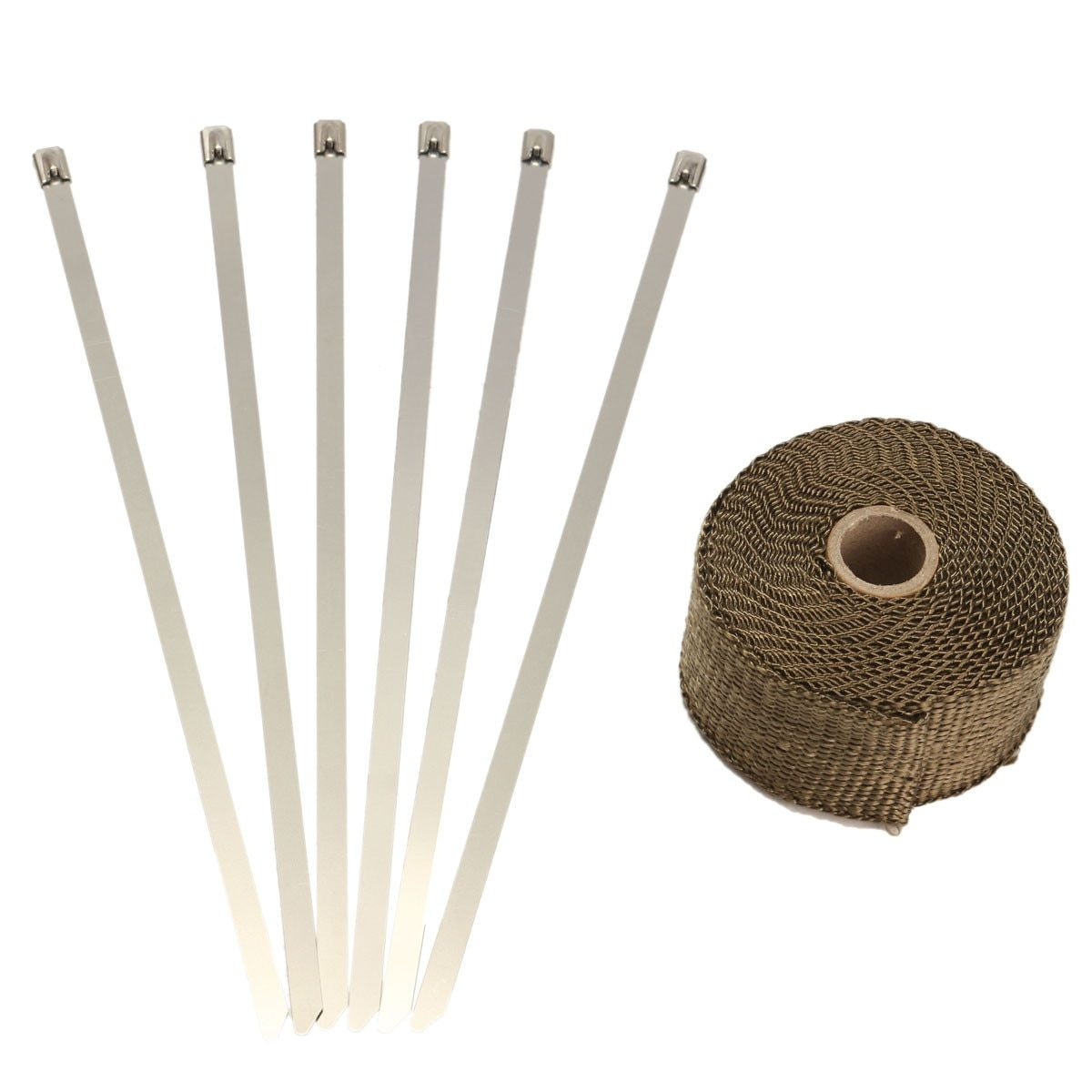 5.08cm x 1.59 mm x 5m Titanium Exhaust/Header Heat Wrap Downpipe Insulation Bandage Tape Roll With Stainless Ties Kit