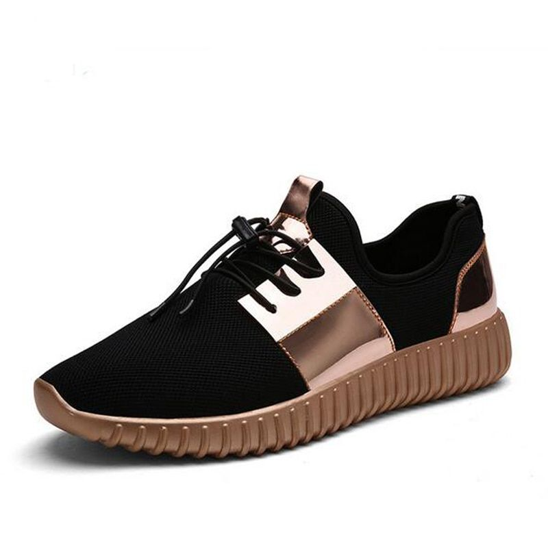 Women Running Shoes For Men High Quality Breathable Outdoor Sneakers Walking Sport Shoes lover black gold silver size 36-44