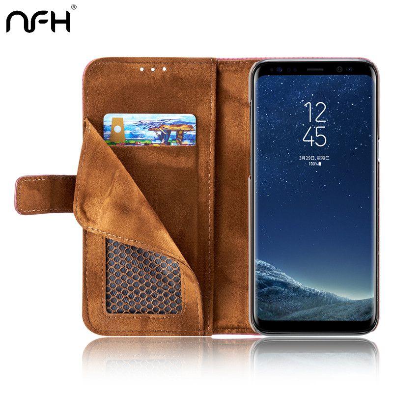 NFH Couverture En Cuir de Luxe Portefeuille Flip Fundas Capinha Coque Cas pour Samsung S8 Cas pour Samsung Galaxy S8 Plus La Couverture Capa