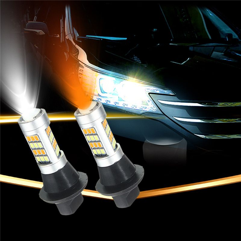 2pcs T20 7443 2835 42 SMD 1000LM 20W Car LED DRL Daytime Running Light Dual Color Switchback Turn Signal Lamp Bulb DC 12-24V