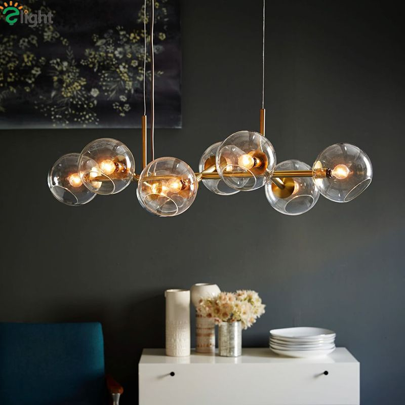 Straight 8/12 Light Glass Globe Beans Chandelier Drope Light For Dining Room Lustre E27 Led Chandelier Lamparas Lighting