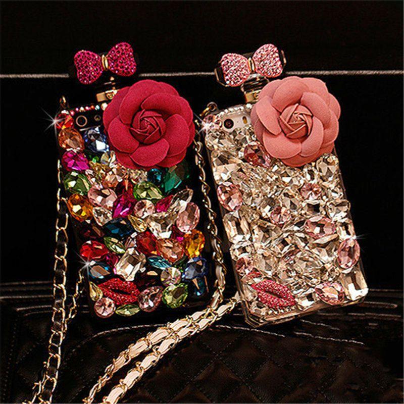 Pour Samsung Note 8 9 S7 bord S8 S9 Plus De Luxe Diamant Cristal Strass Fleur Bouteille De Parfum Doux Cas de Téléphone couverture