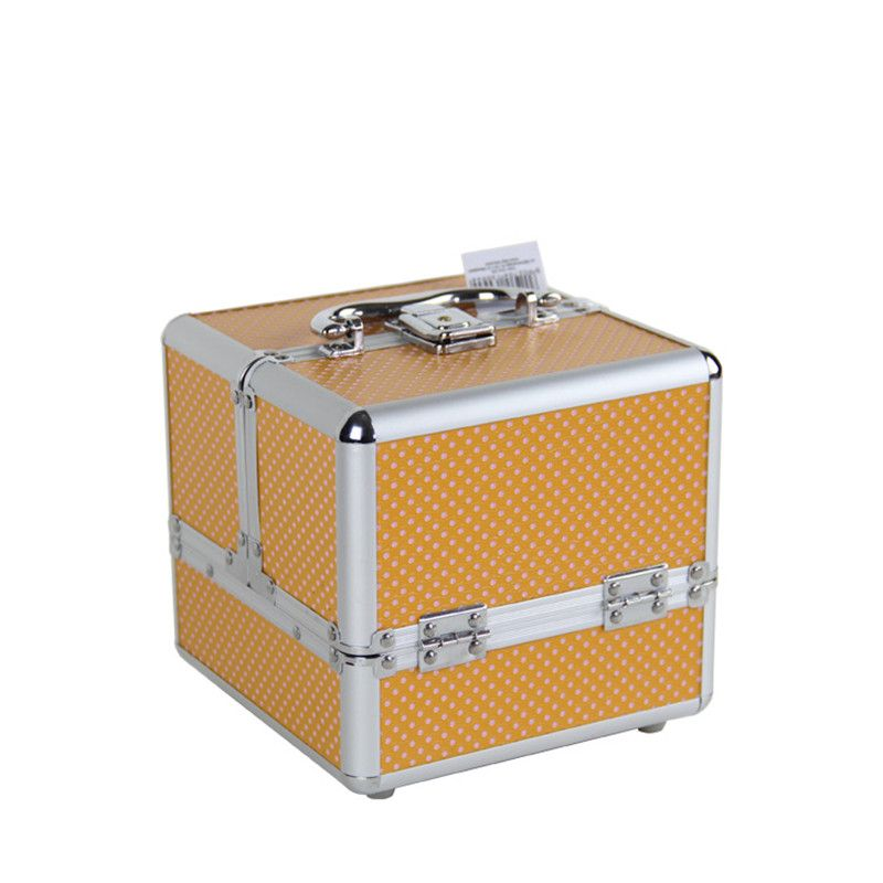 Europe and America Multi-layer Cosmetic Case Retro Trumpet Double Open 4 Tray Aluminum Alloy Cosmetic Case Storage Box Toolbox