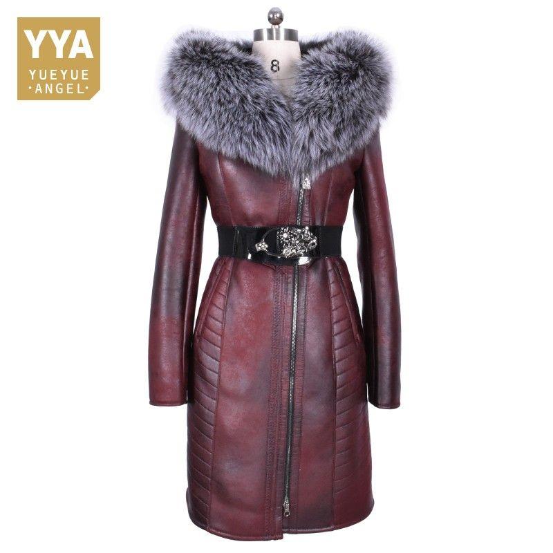 2018 New Women Winter Real Fur Long Coat Plus Size 8XL Slim Fit Snow Overcoat Motor Biker Fur Hoody Leather Windbreaker Jacket