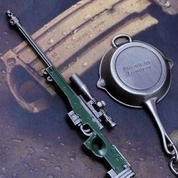 Kecil Yang Indah Hadiah Mini Gun Hanger 1 Set AWM Sniper Rifles + Datar Dipercaya AKM 98 K Model Senjata untuk Anak Laki-laki Jsuny Mainan