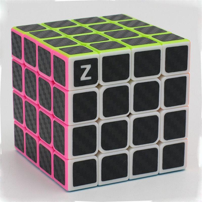 ZCUBE 4x4x4 de Fibra de Carbono Pegatina Velocidad Cubo Mágico Puzzle Toy Niños Niños Juguete de Regalo de Jóvenes Adultos instrucción