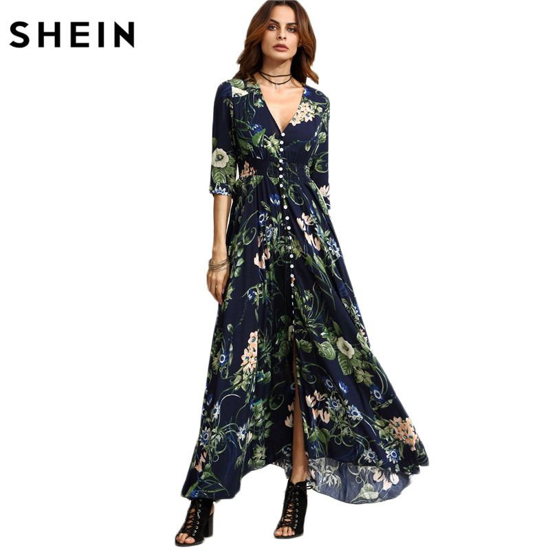 SHEIN Long Floral Maxi Dress Boho Long Dress Elegant Beach Navy Floral Print Half Sleeve Button Front A <font><b>Line</b></font> Shirt Dress