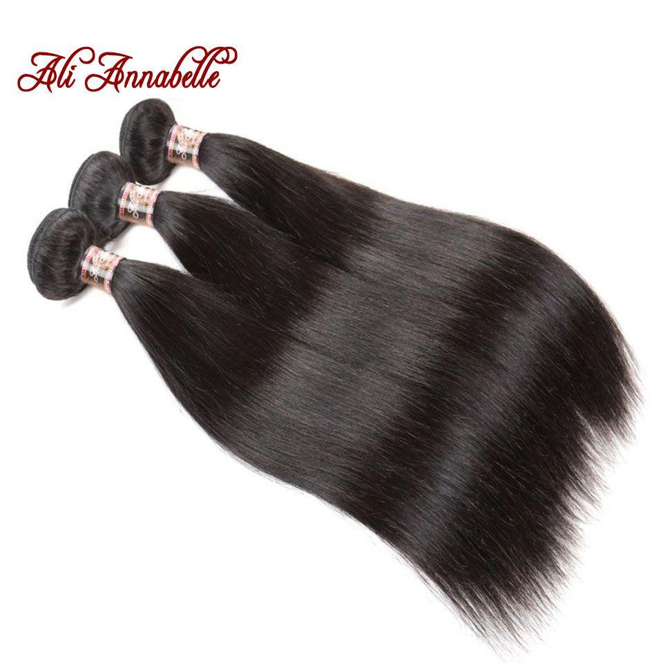 ALI ANNABELLE HAIR Brazilian Straight Human Hair Bundles 100% Remy Hair Weave Bundles 3 Bundles Hair Natural Color