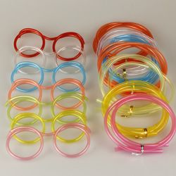 Funny Soft Glasses Straw Unique Flexible Drinking Tube Kids Party Accessories Crazy Diy Straws for Birthday Party Supplies