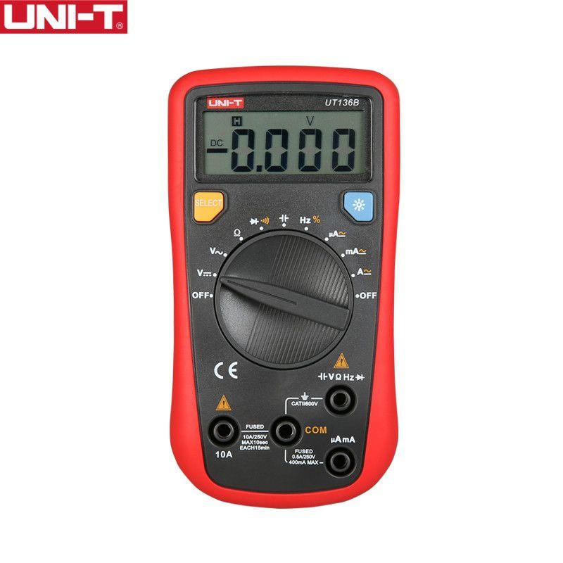 UNI-T UT136B Digital Multimeter Auto Range Tester AC DC VoltageCurrent Ohm <font><b>Diode</b></font> Cap Hz of test <font><b>diode</b></font> multimeter