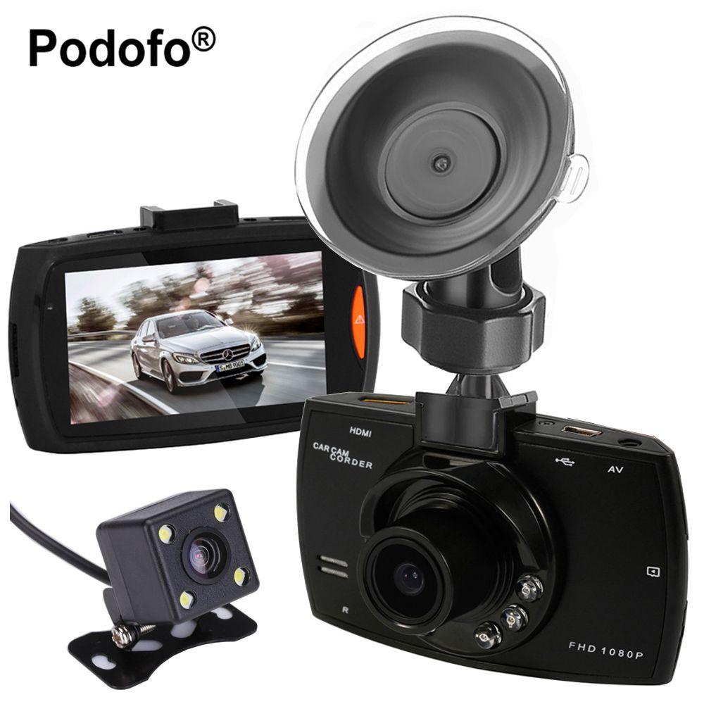 Podofo Dual Cameras Car DVR G30 Dash Cam Full HD 1080P Video Recorder Registrator With Backup Rear View Camera Night Vision Dvrs