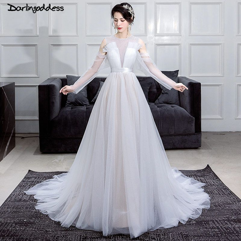 Vestido de Noiva Simple Beach Wedding Dress 2018 Vintage White Tulle Long Sleeves Wedding Gowns Plus Size Vestido Noiva Praia