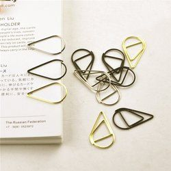 12 pcs/pack 6 Colors Brief Style Waterdrop Shaped Metal Paper Clip Bookmark Stationery School Office Supply Escolar Papelaria