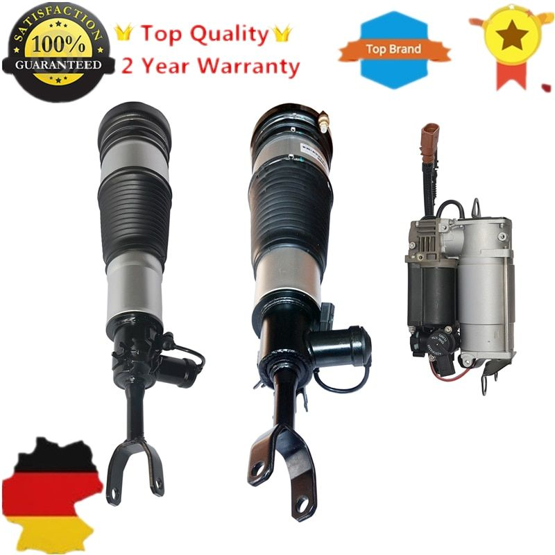 Pair Front Air Struts & compressor pump For Audi A6 S6 quattro Avant Allroad C6 /4F 4F0616005 4F0616039AA