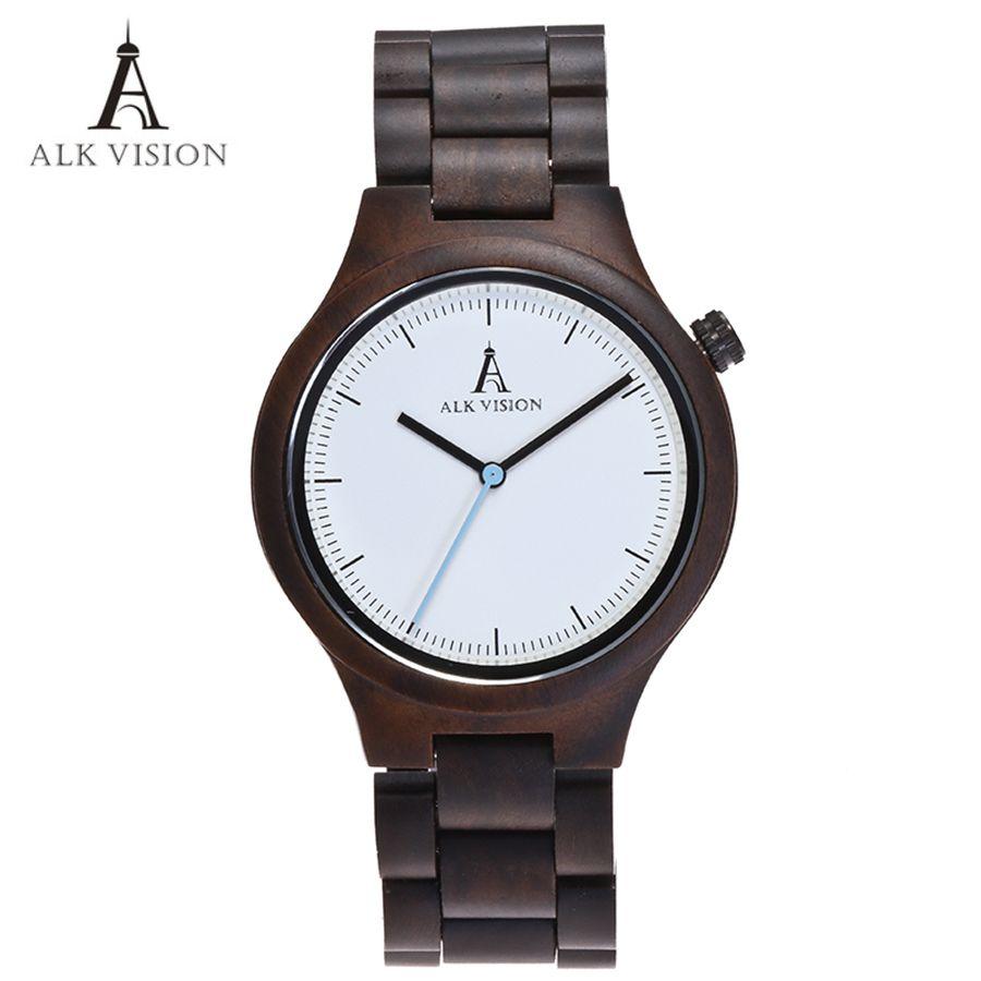 Horloge en bois Designer montres hommes montre en bois de haute qualité écologique en bois ébène bande montre Quartz fois mécanisme