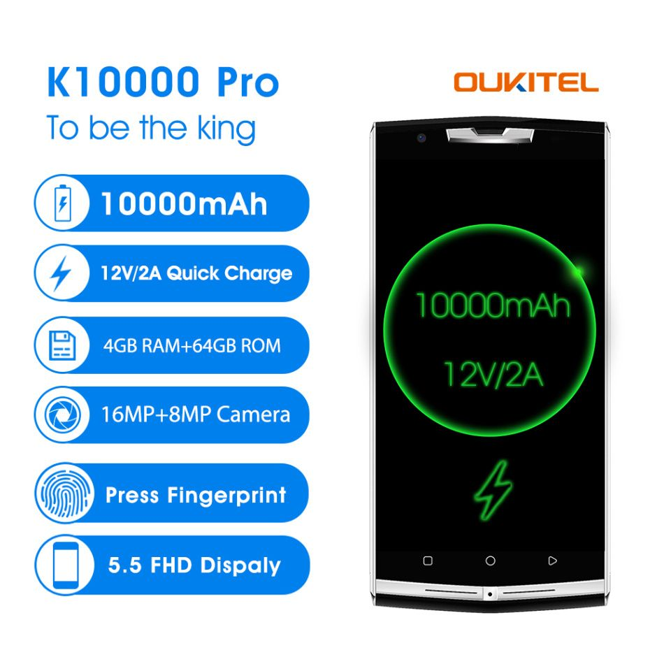 original Oukitel k10000 pro 4G Mobile Phone 5.5'' 4GB 64GB 10000mAh 12V/2A Octa Core Android 7.0 16.0MP Rear Smart Cellphone GPS