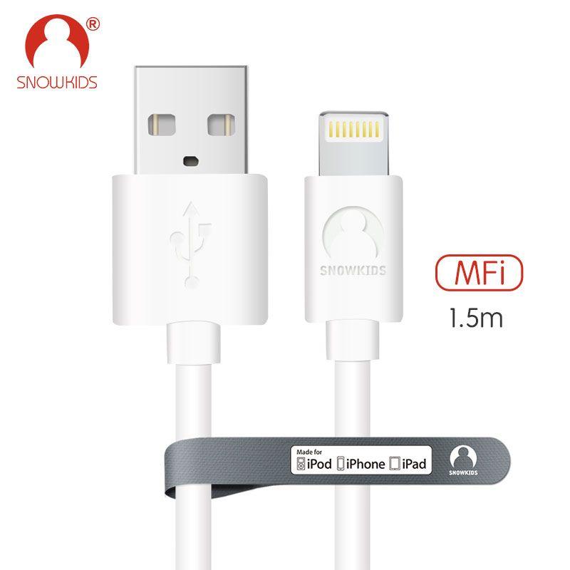 Snowkids 1.5 m 2 m 3 m MFi Certifié Câble pour iPhone X 8 7 6 5 plus ipad mini/air Jusqu'à iOS12