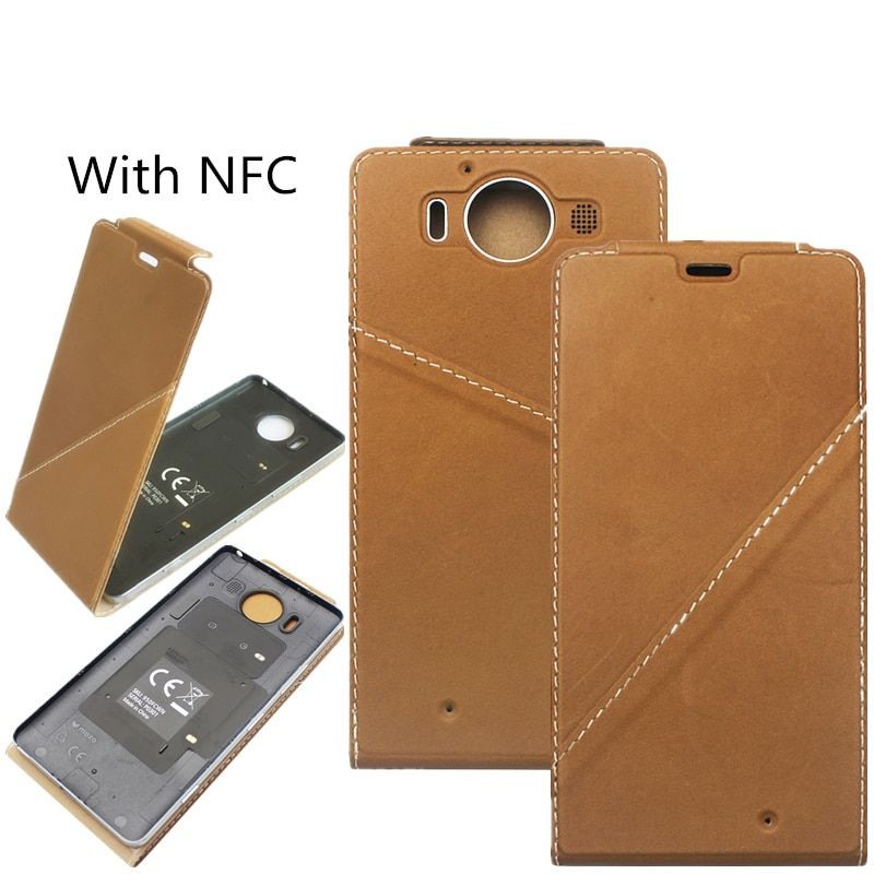 For Nokia lumia950 Genuine Leather Flip Case Cover for Microsoft lumia 950 Back Housing Cover Case with NFC + Wireless charging
