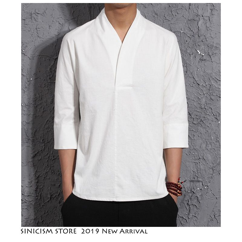 Sinicisme magasin hommes Harajuku coton linge t-shirt 2019 hommes été solide Streetwear mode blanc T-shirts hommes été T-shirts