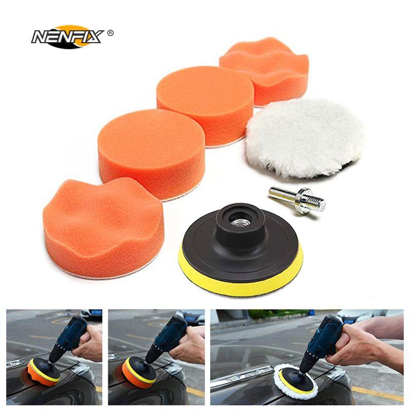 7 pièces 3 voiture éponge tampon de polissage ensemble tampon de polissage cire adaptateur Kit de forage pour Auto soins du corps phare assemblage réparation