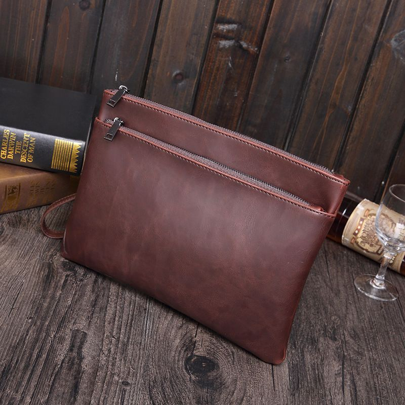 Hot Selling High Quality Leather File Folder Document Filing Bag Elastic Closure Folder Laptop Bag Notebook Bag