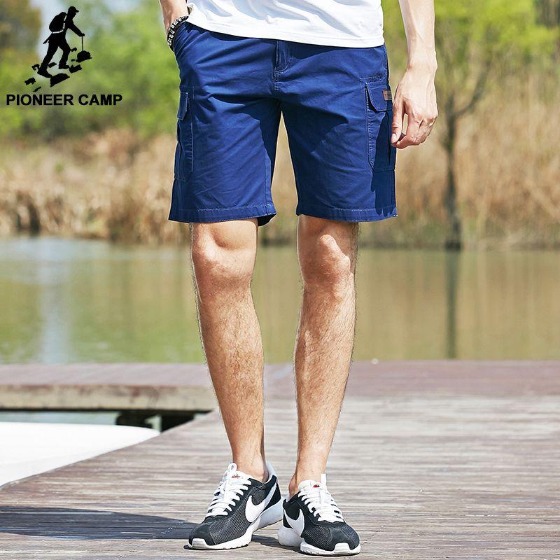 Pioneer Camp Nouveau Hommes Shorts marque vêtements 100% Coton lâche Mâle Shorts Occasionnels bermuda pantalon Kaki 655119
