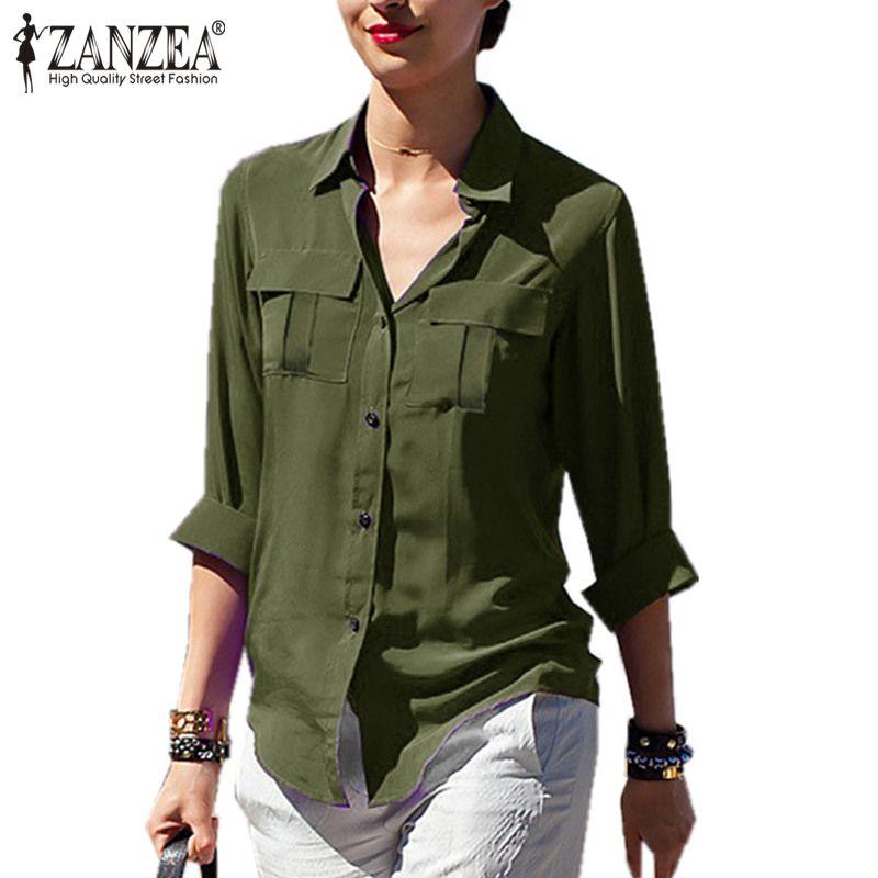 Zanzea 2018 Primavera Gasa Blusas Mujeres de la Camiseta Ocasional Bolsillos Camisa de Manga Larga de Gran Tamaño Tops de la Solapa de la Blusa Sexy a través de la Tapa
