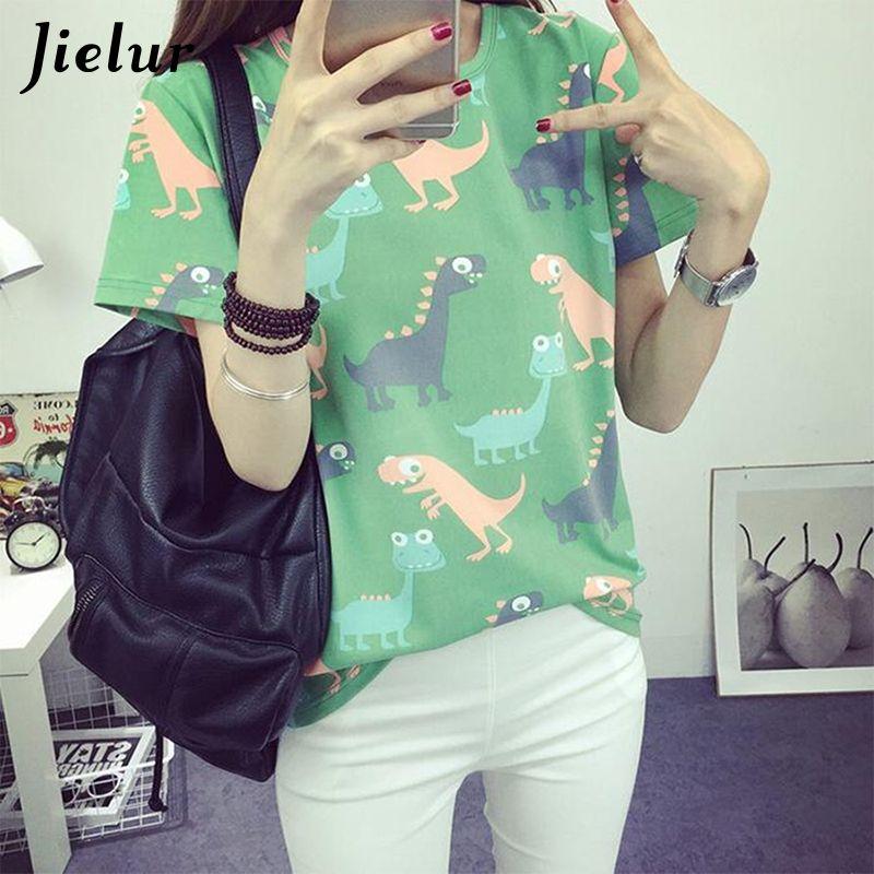Jielur coréen rétro Animal dinosaure impression t-shirt femmes été japonais Harajuku Style à manches courtes femme T-shirts hauts S-XL