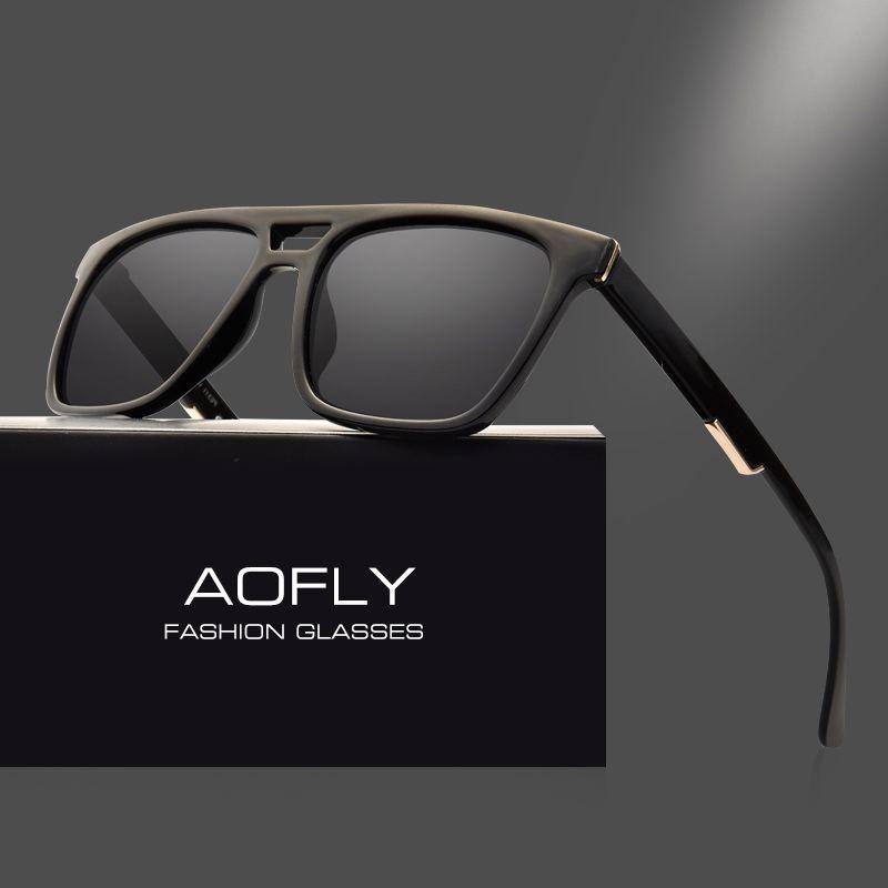 AOFLY Square Vintage Polarized Sunglasses Male Unisex Sunglasses Fashion Brand Designer UV400 Driving Eyewear Oculos AF8043