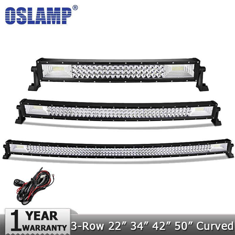 Oslamp 3-Row 22 324W 34 486W 42 594W 52 702W Curved LED Light Bar Offroad Led Bar Spot Flood Beam Led Work Light Bar 12v 24v