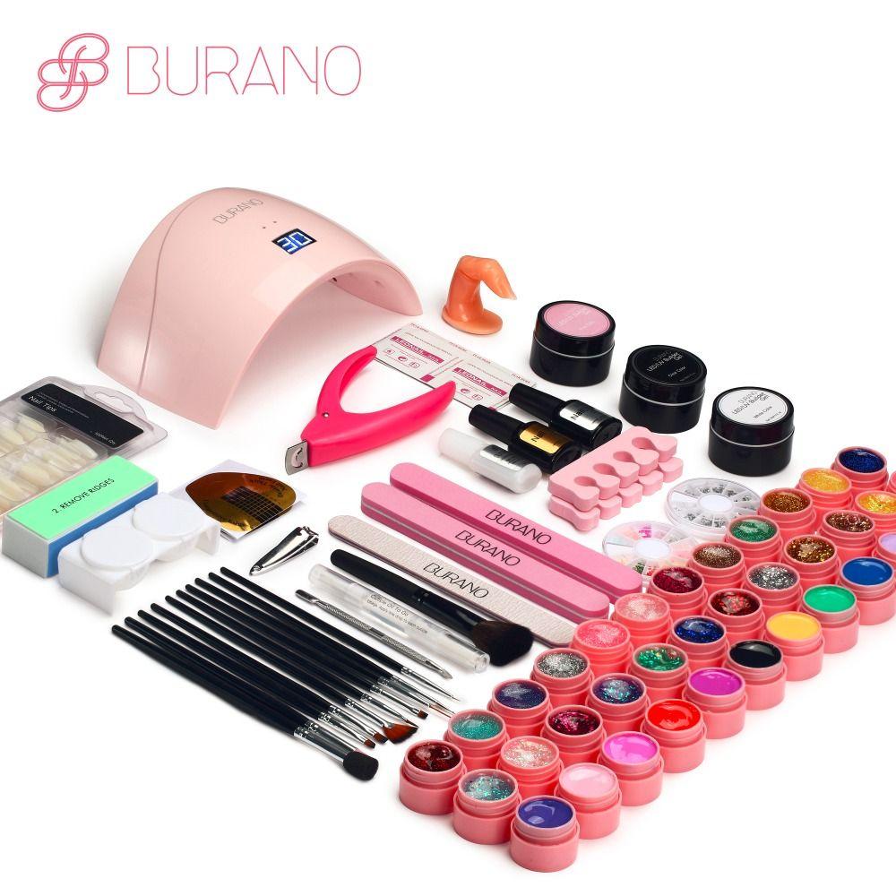 Burano manicure set of tools nail set kit UV LED Lamp & 36 <font><b>Color</b></font> UV Gel Nail polish Art Tools nail Set Kit building gel set009