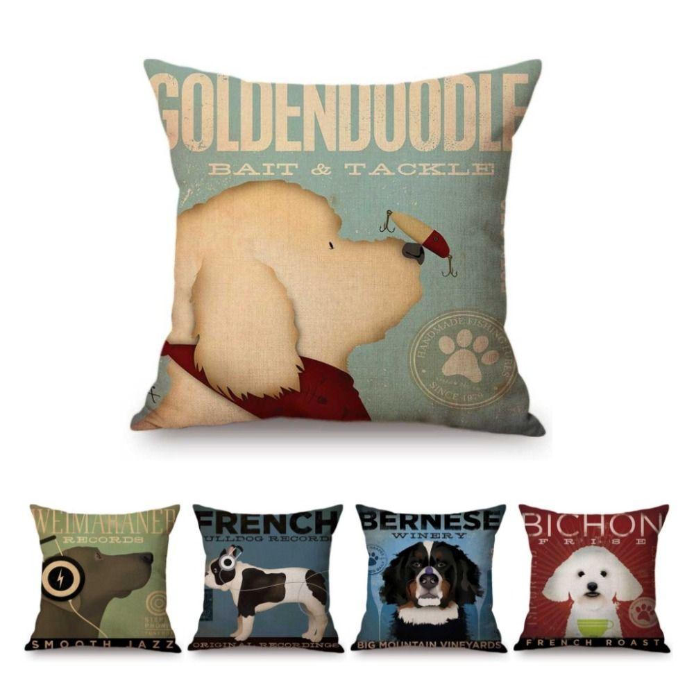 Vintage chien affiche Art maison décoratif canapé jeter taie d'oreiller Vizsla Labrador Goldendoodle Golden Retriever linge housse de coussin