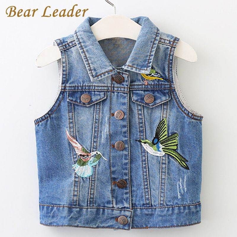 Bear Leader Girls Outerwear 2018 New Spring Cowboy Bird Embroidery Girls Denim Coat for Kids Sleeveless Vests For 3-8 Years