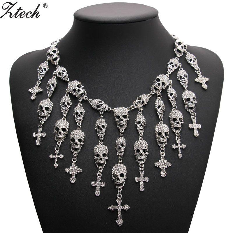 Ztech Trendy Gorgeous Fashion Necklace Skeleton skull Cross Jewelry crystal Department Statement Women Choker Necklaces Pendants