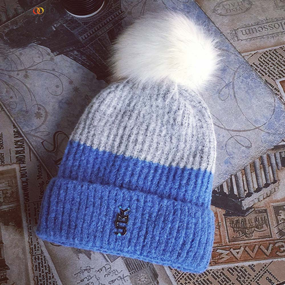 Fashion Girl's Skullies Beanies Winter Hats For Women Knitting Cap Hat Pompoms Ball Warm Contrast Color Gorros Thick Female no13